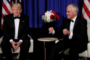 White House plays down Australian PM's mockery of Donald Trump at media party