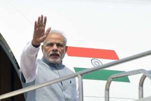 Prime Minister Narendra Modi left for his three-nation visit to Palestine, the United Arab Emirates (UAE) and Oman