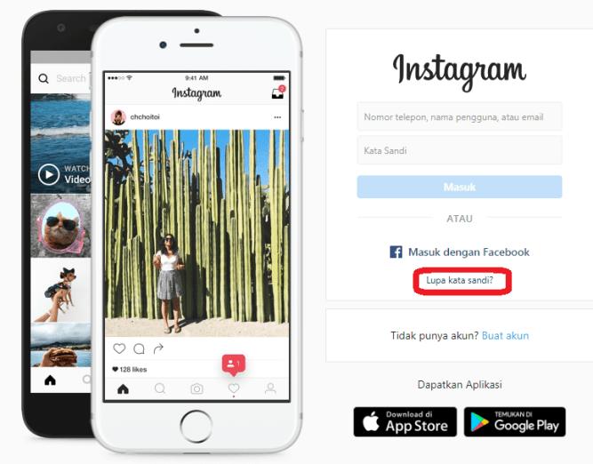 Instagram lupa kata sandi