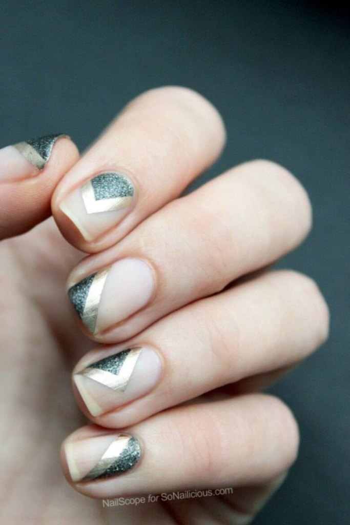 Metallic Chevron Nails Art Design