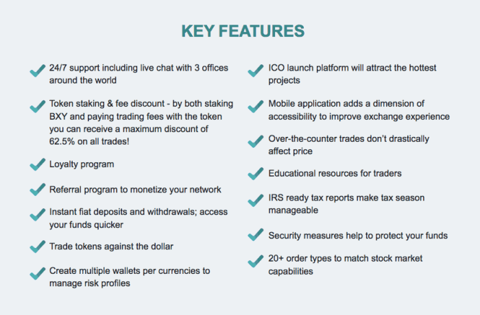 Beaxy key features