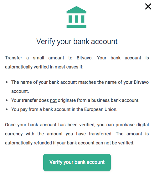 Bitvavo bank account