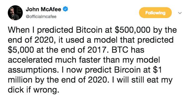 McAfee voorspelling Bitcoin