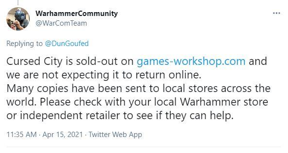 games workshop warhammer community twitter tweet cursed city warhammer quest gw