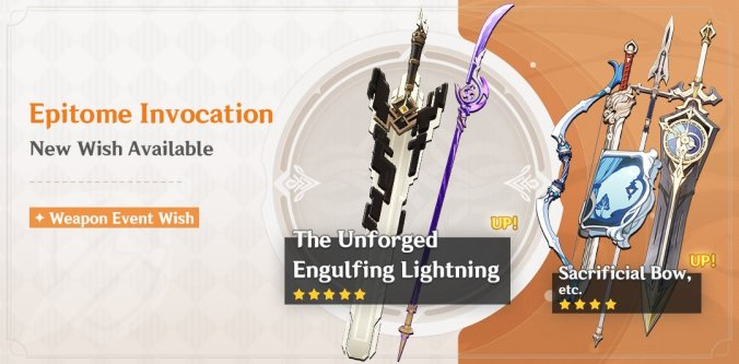 genshin impact 2.1 update weapons banner unforged engulfing lightning