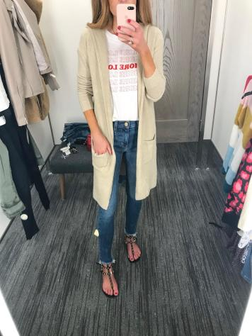 Fun graphic tee and easy long cardi that comes in tons of colors