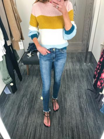Topshop fun knit and frayed hemline Current Elliott jeans