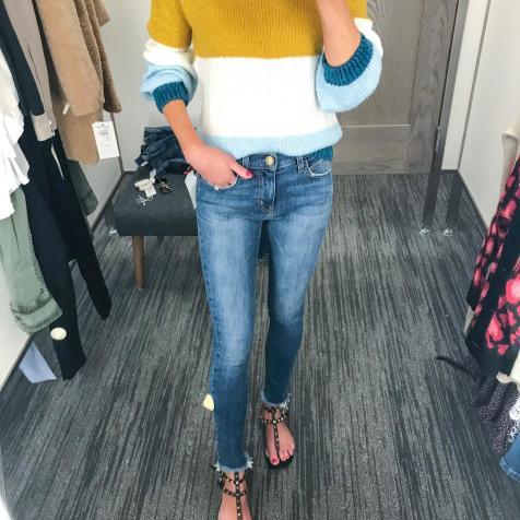 Topshop fun knit and frayed hemline Current Elliott jeans