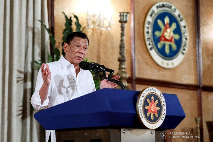 President Rodrigo Roa Duterte delivers his speech after administering the oath to the newly elected local government officials and party-list representatives during a ceremony at the Malacañan Palace on June 25, 2019. ROBINSON NIÑAL JR./PRESIDENTIAL PHOTO