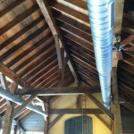 Timber frame above the tasting rooms