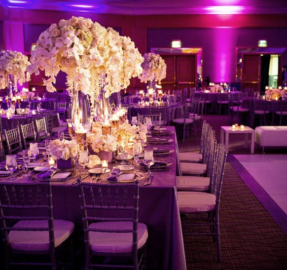 Purple wedding theme - Uplighting