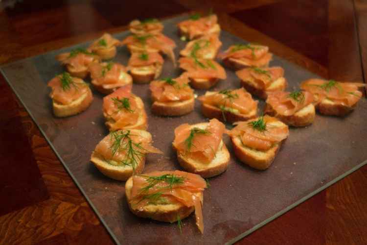 Smoked Salmon Crostini for Feast of 7 Fishes