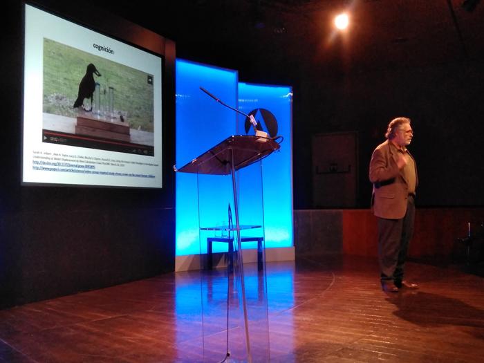 Pablo Noriega explica la capacidad cognitiva de una urraca como ejemplo de inteligencia no humana durante su elocución.