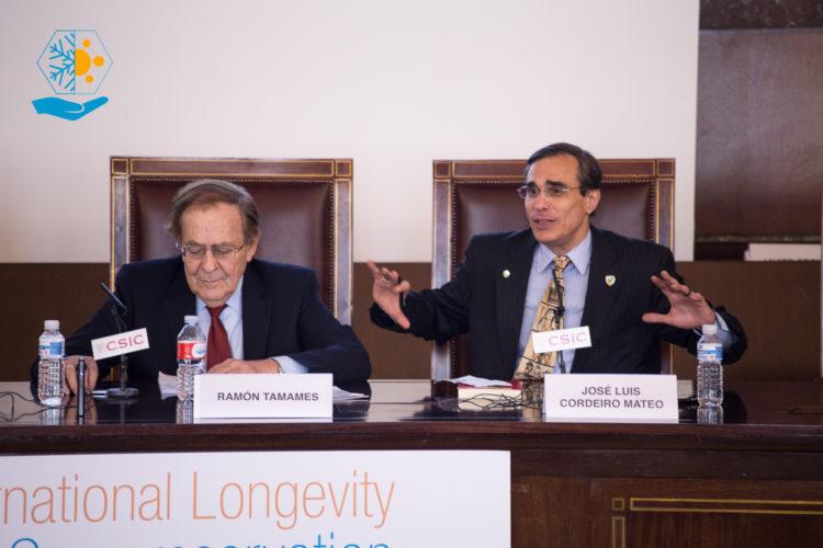 Ramón Tamames y José Luis Cordeiro en el CSIC