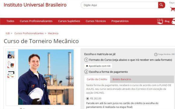 Curso de torneiro mecânico grátis online 2016 (site Instituto Universal Brasileiro