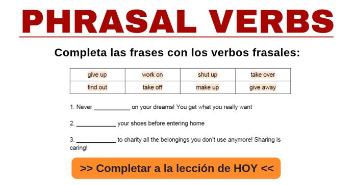 verbos frasales en inglés phrasal verbs