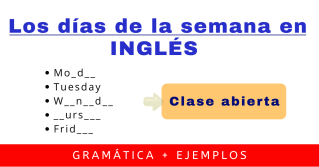 dias de la semana en ingles gramatica