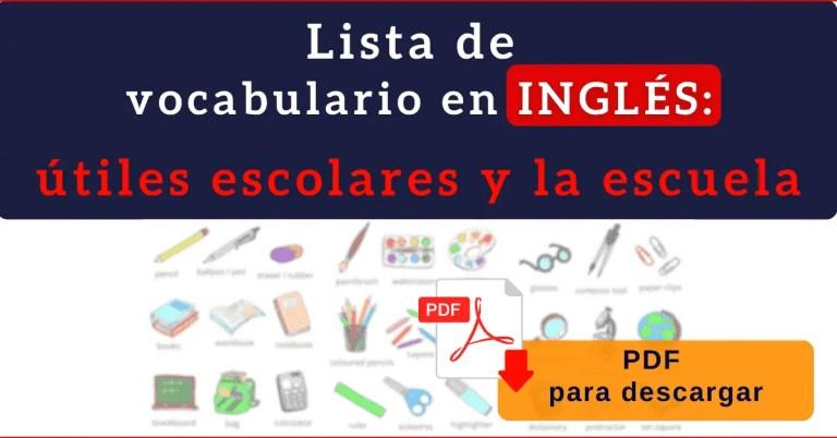 material escolar en ingles vocabulario