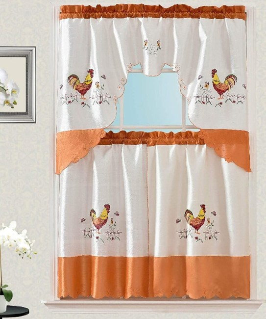 Ruffled 24 Inches Tiered Kitchen Curtain, Rooster, Plaid **2021 Curtain