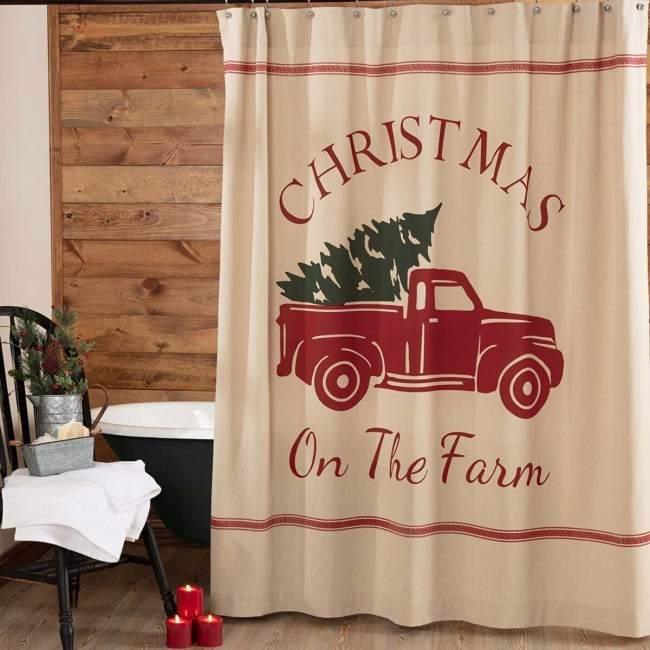 Christmas Shower Curtain, Hookless, Curved  Rod **2021 Shower Curtain