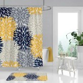 Blue Yellow Shower Curtain Can Turn Your Bathroom Into a Strong Blue Shower Curtain