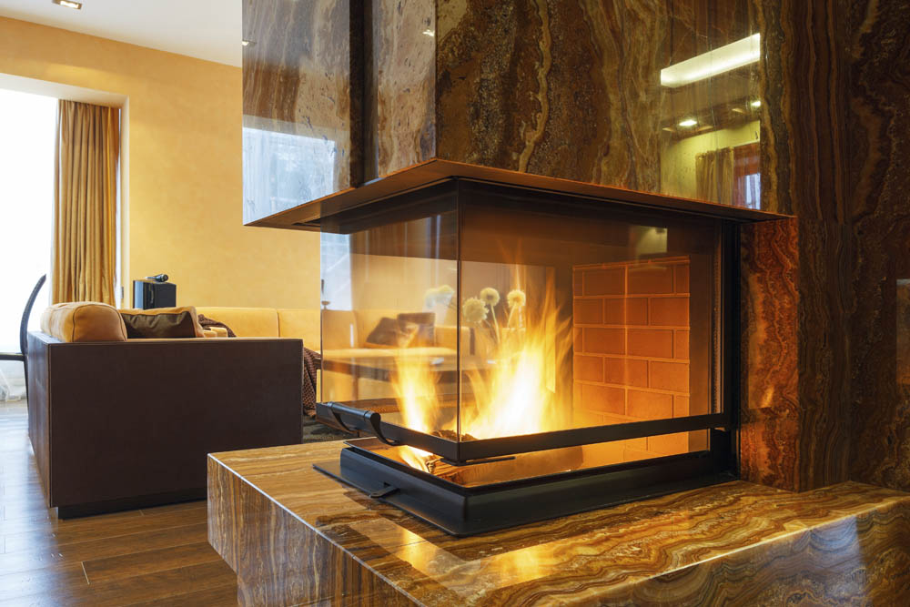 Refaced Stone Double Sided Fireplace Interior Design