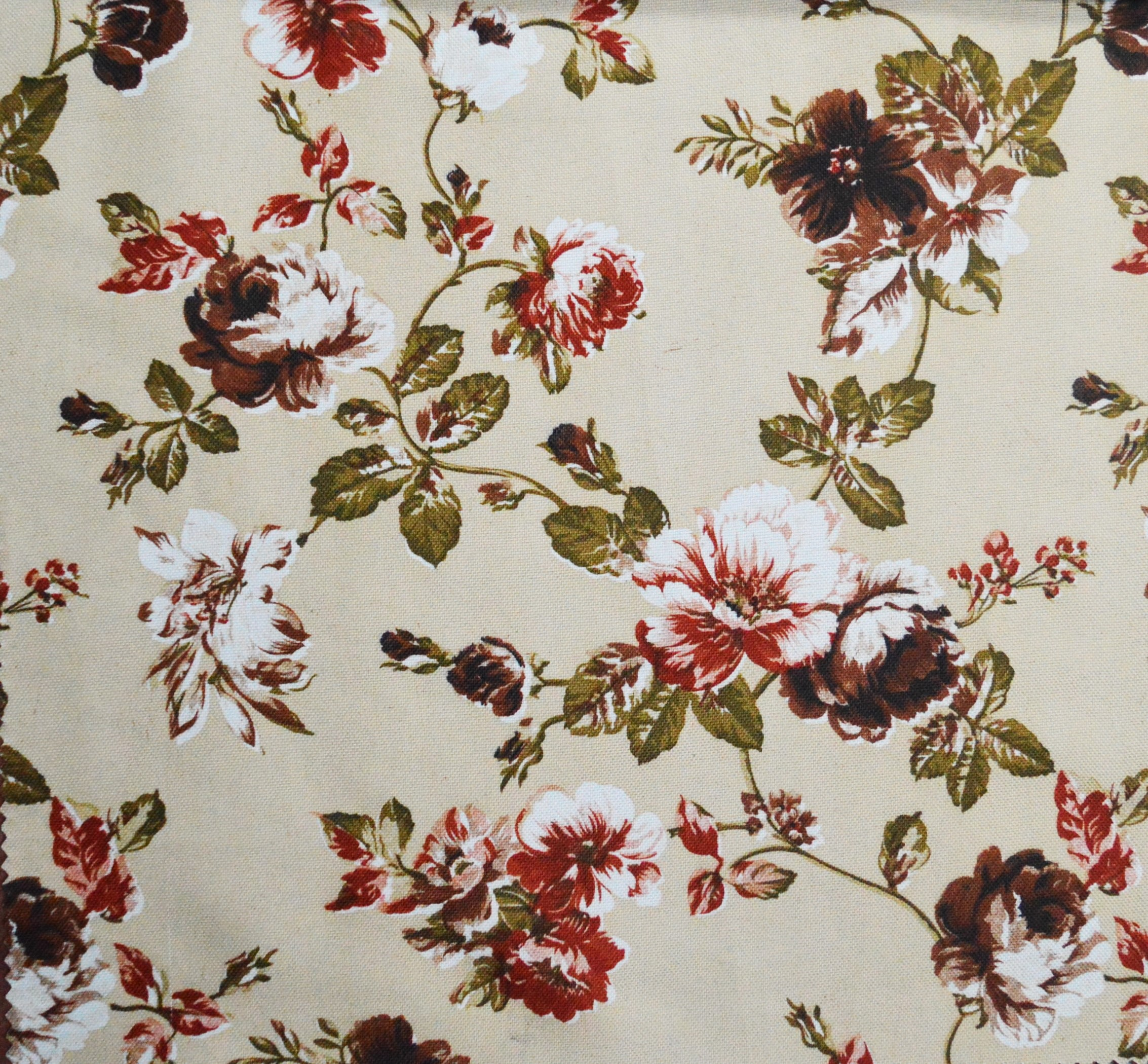blossom floral print curtain fabric brown
