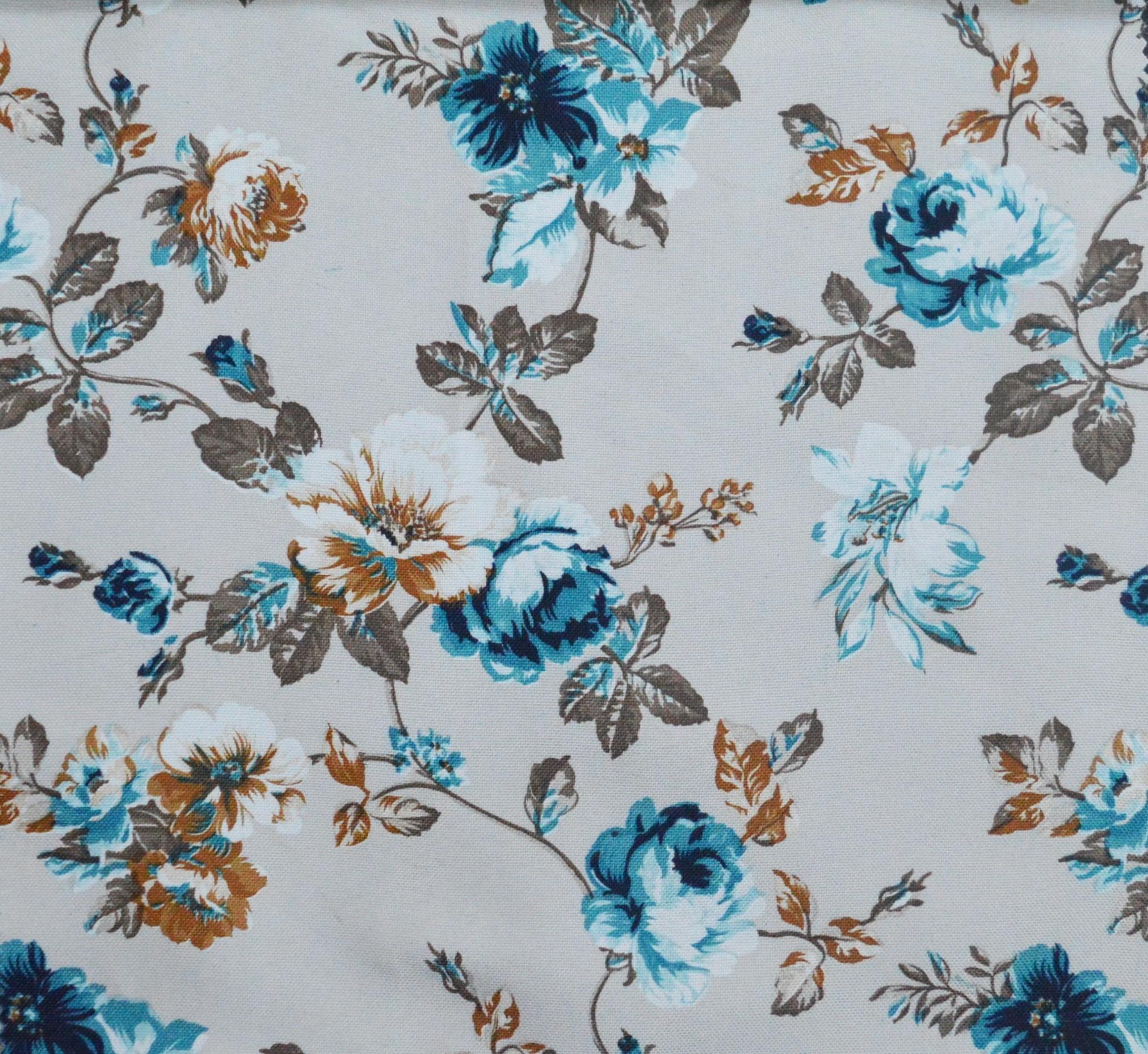 blossom floral curtain fabric blue autumn