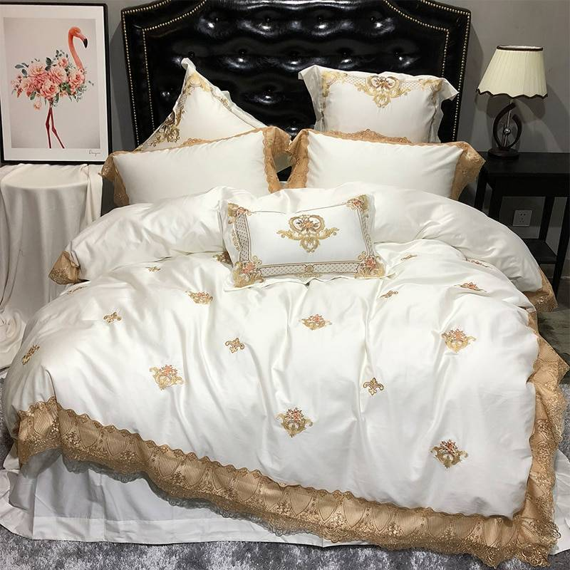 bedding set royal embroidery bed sheet