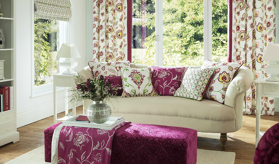 fabric, cushions, curtains, roman blinds