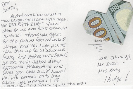 Note from Bride and Groom Kerry and Evan to Curtis one year after their wedding, with a $100 bill attached.