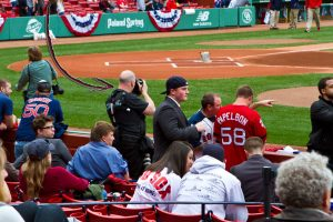 Curtis Knight at Fenway in Boston taking pictures of the Honor Guard