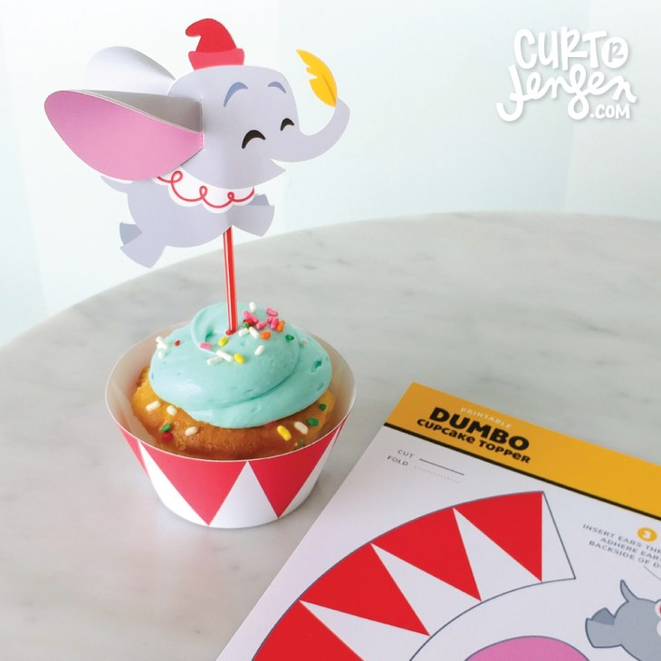 FREE Printable Dumbo Cupcake Toppers designed by Curt R. Jensen