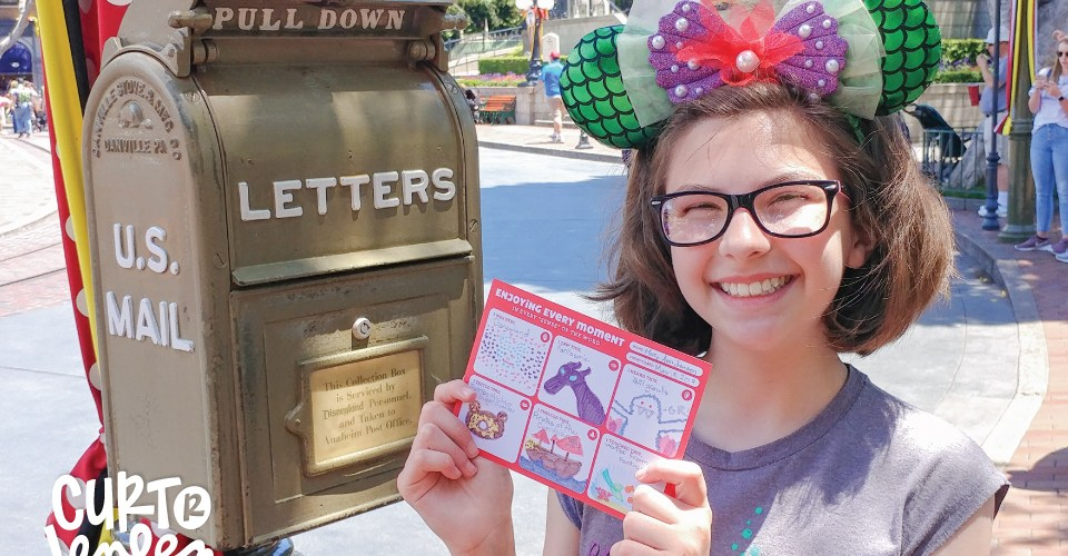 My daughter loved doodling on these fill-in-the-blank postcards every day while we were at Disneyland