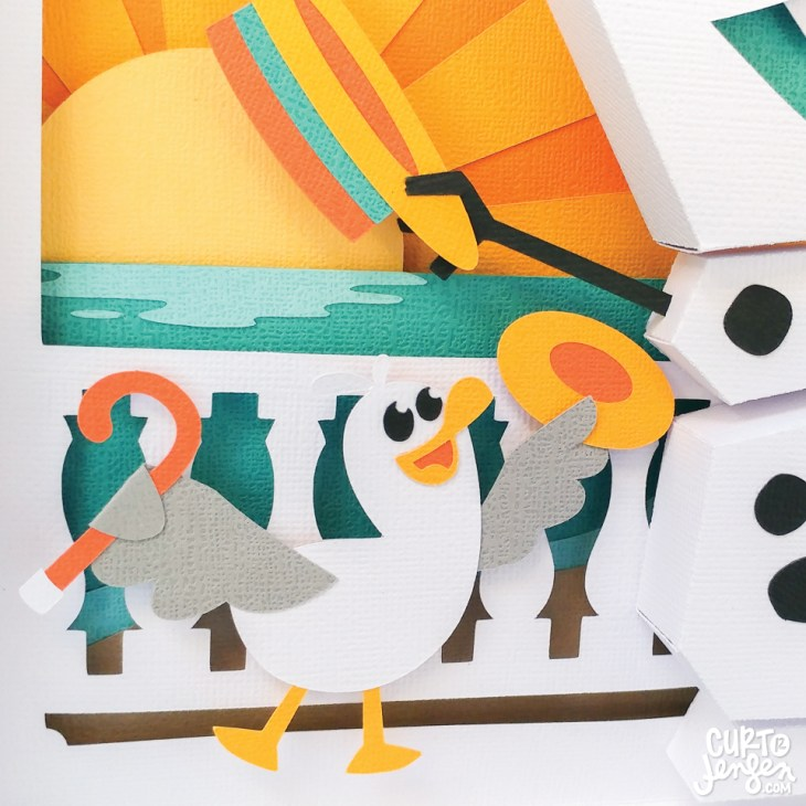 Closeup of Curt R. Jensen's Frozen-inspired paper art.