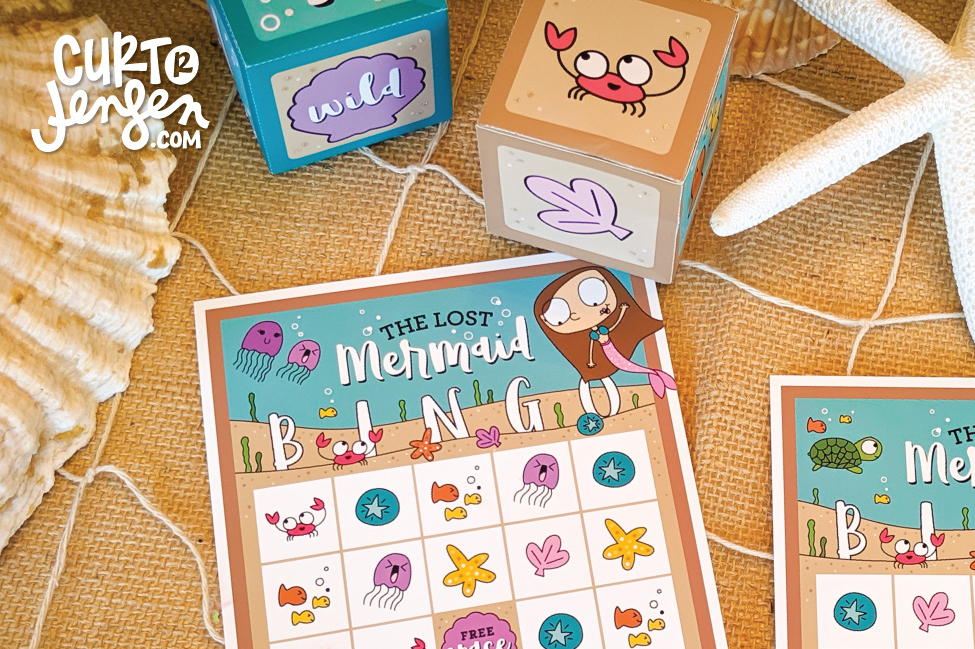 FREE Printable Mermaid BINGO featuring illustrations by Mary Ann Jensen