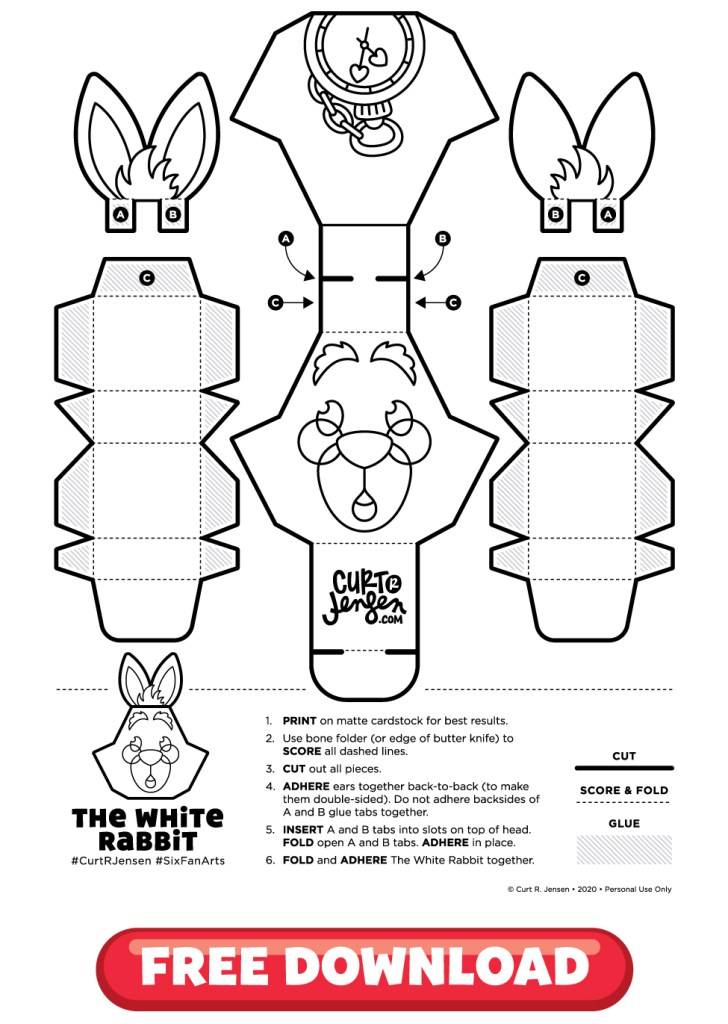 Free Printable White Rabbit from CurtRJensen.com
