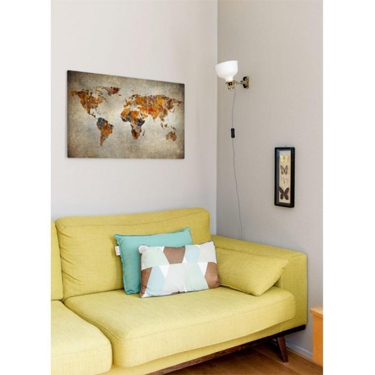 wereldkaart op canvas 3 - Interieur | Een mooie wereldkaart op canvas aan je muur