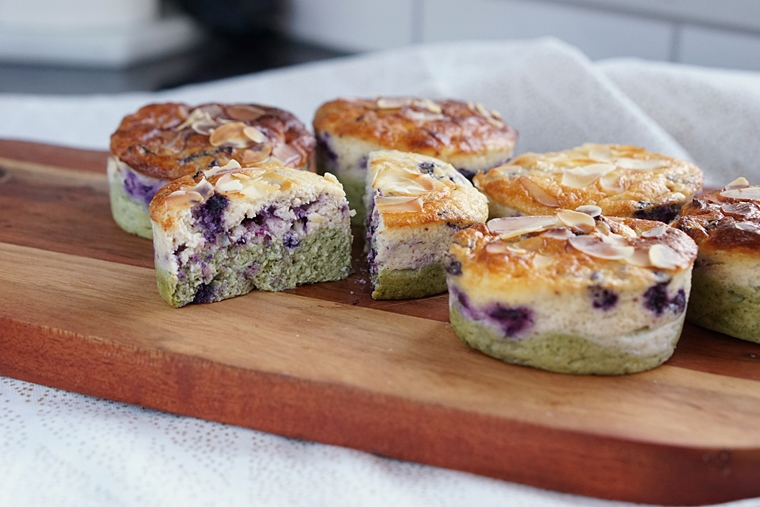blueberry matcha cheesecake recept 4 - Blueberry Matcha cheesecake muffins (uit de Airfryer)