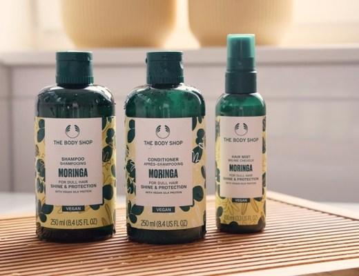 The Body Shop vegan haircare Moringa shampoo conditioner hair mist review/ervaring