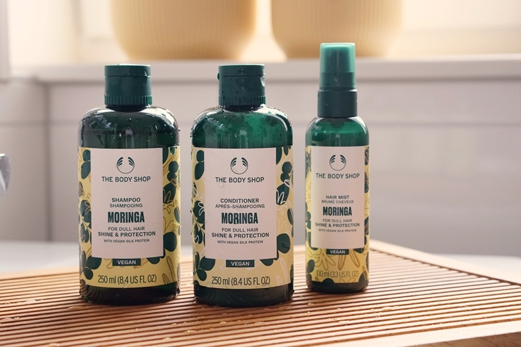 the body shop moringa shampoo conditioner hair mist review 1 - Love it!   The Body Shop Moringa haarproducten