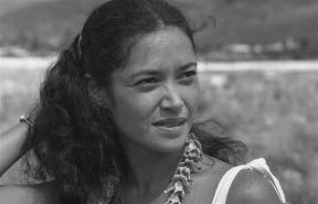 Muffet Jourdane at a groundbreaking ceremony for a project at Kuilioloa Heiau in Waianae, circa 1981. An archaeologist since high school, Muffet excavated the waterlogged Huahine site with Dr. Sinoto in the 1970s when she worked at Bishop Museum. Most recently, she was with the State Historic Preservation Division, where she was assistant Oʻahu Island archaeologist for eleven years.