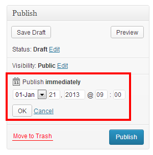 After clicking edit you can set the date and time for publishing