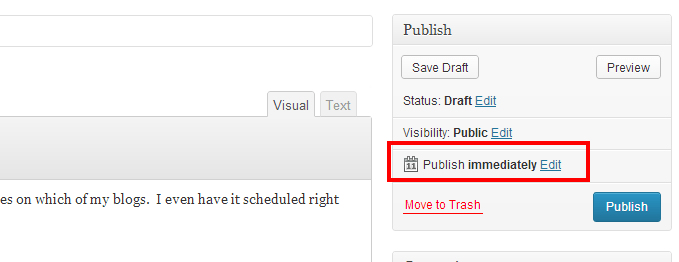 Click Edit to set the publishing schedule