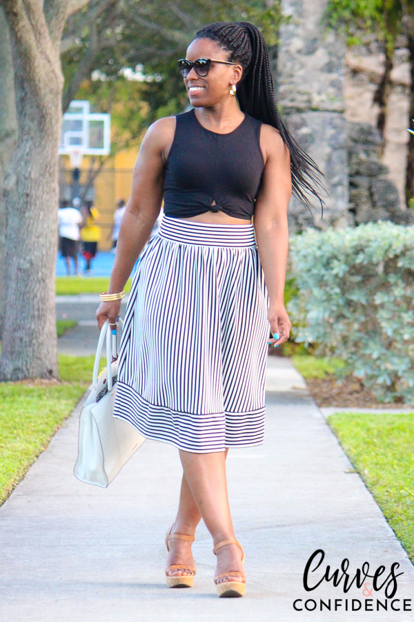 curves-and-confidence-f21-black-white-high-waist-midi-skirt-and-knot-front-crop-top