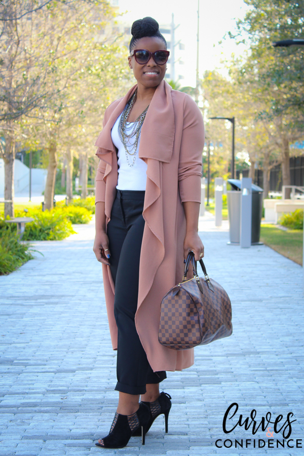 Curves and Confidence: Long Draped Front Jacket and Express Ankle Trousers