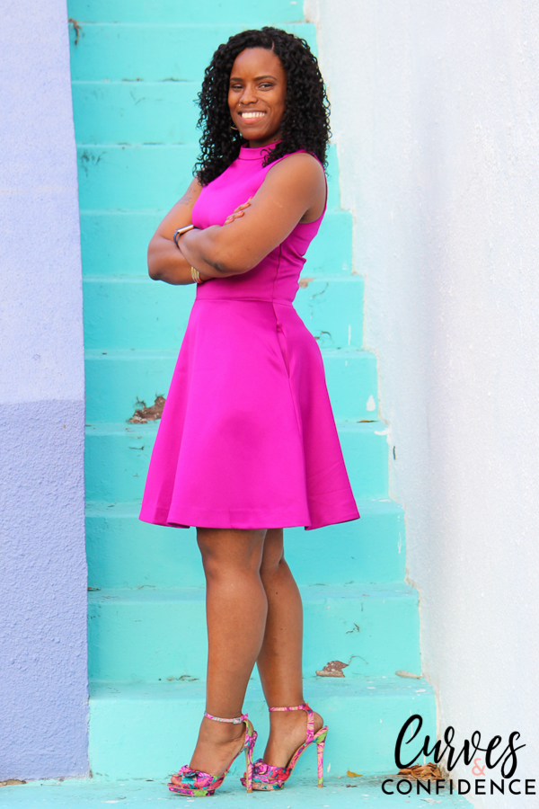 magenta fit and flare dress