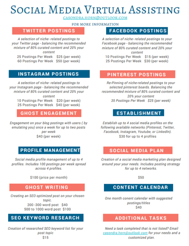 Pricing List - Social Media VA