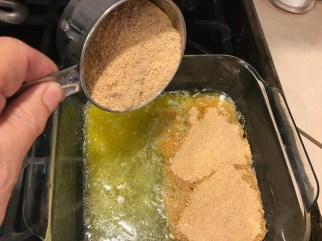 Add the graham cracker crumbs.,..