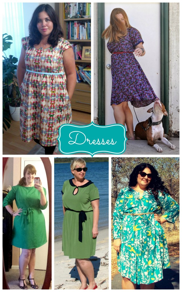 dress collage green purple blue